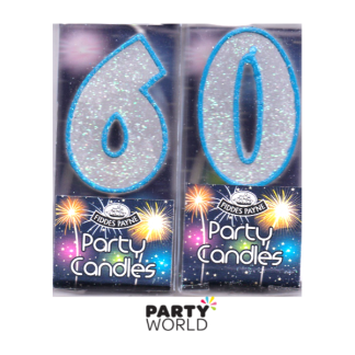 60th Glittering Birthday Candles - Blue