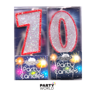 70th Glittering Birthday Candles - Red