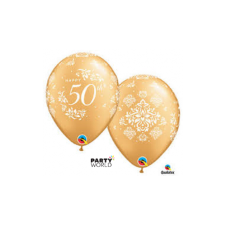 50th Anniversary Damask Metallic Gold Latex Balloons (10)