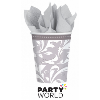 Silver Elegant Scroll Paper Cups (8)