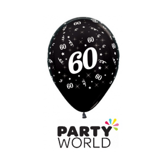 60 Metallic Black Latex Balloons (6)