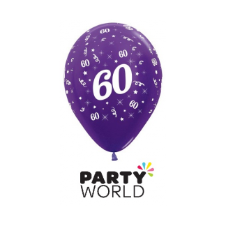 60 Metallic Purple Violet Latex Balloons (6)
