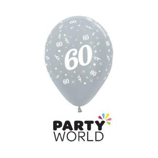 60 Metallic Silver Latex Balloons (6)