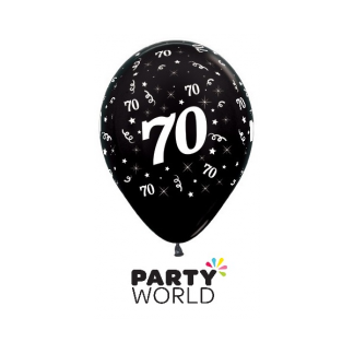 70 Metallic Black Latex Balloons (6)