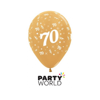 70 Metallic Gold Latex Balloons (6)
