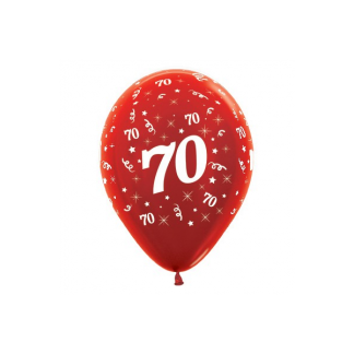 70 Metallic Red Latex Balloons (6)