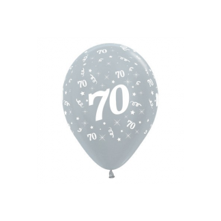 70 Metallic Silver Latex Balloons (6)