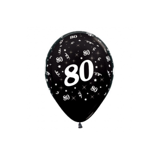 80 Metallic Black Latex Balloons (6)