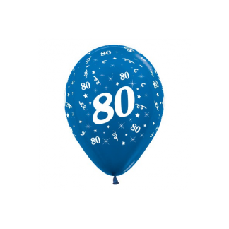 80 Metallic Blue Latex Balloons (6)
