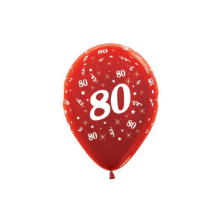 80 Metallic Red Latex Balloons (6)
