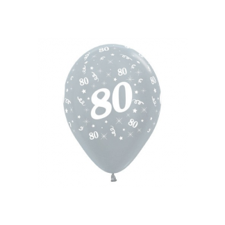 80 Metallic Silver Latex Balloons (6)
