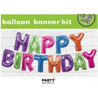 Multicoloured Happy Birthday Balloon Banner Kit