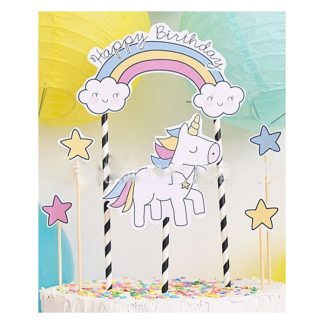Unicorn Happy Birthday Cake Topper