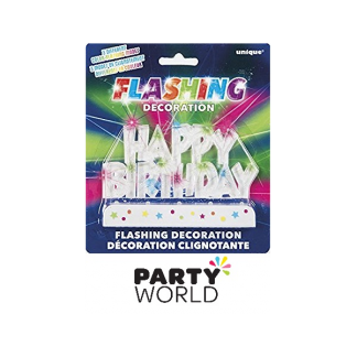 Flashing Happy Birthday Cake Decoration
