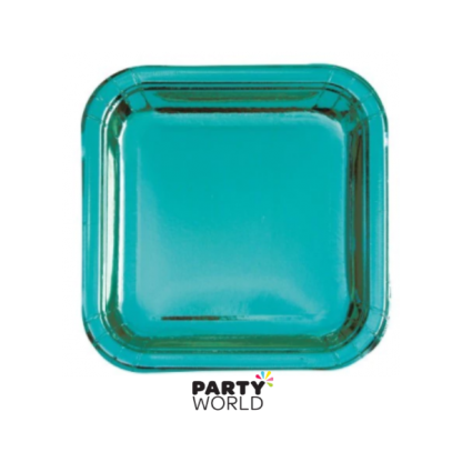 Caribbean Teal Foil Square Plates 9in (8)