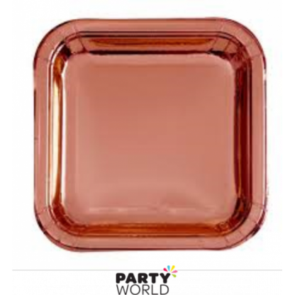 Rose Gold Foil Square Plates 9in (8)