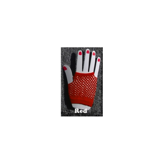 Short Red Fishnet Gloves