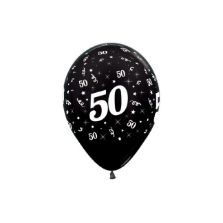 50 Metallic Black Latex Balloons (6)