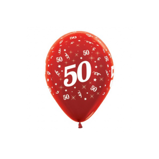 50 Metallic Pearl Red Latex Balloons (6)