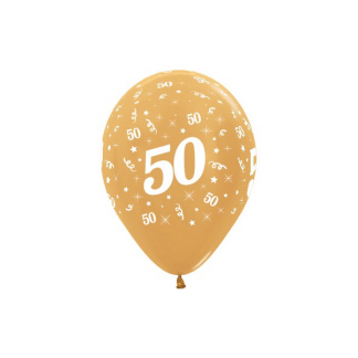 50 Metallic Gold Latex Balloons (6)