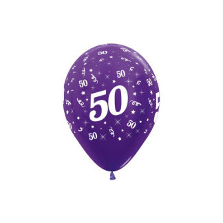 50 Metallic Purple Pearl Violet Latex Balloons (6)