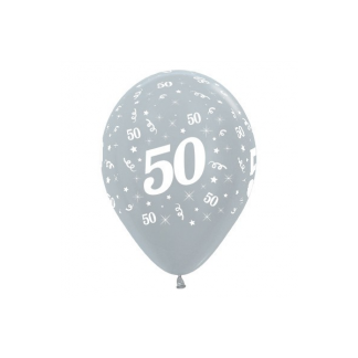 50 Metallic Silver Latex Balloons (6)