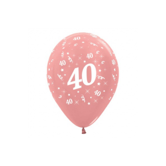 40 Metallic Pearl Rose Gold Latex Balloons (6)