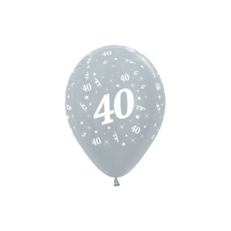 40 Metallic Silver Latex Balloons (6)