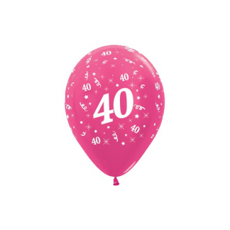 40 Metallic Fuchsia Latex Balloons (6)