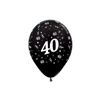 40 Metallic Black Latex Balloons (6)