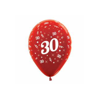 30 Metallic Red Latex Balloons (6)