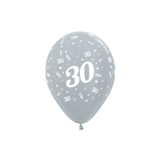 30 Metallic Silver Latex Balloons (6)