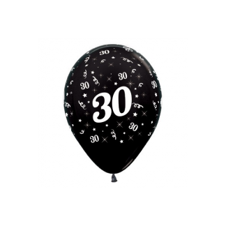 30 Metallic Black Latex Balloons (6)