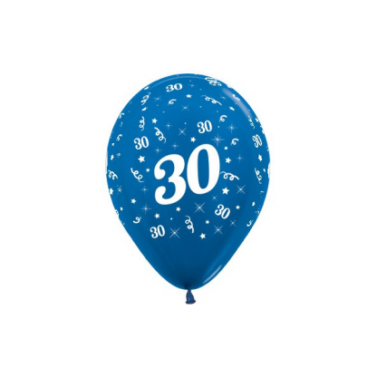 30 Metallic Blue Latex Balloons (6)