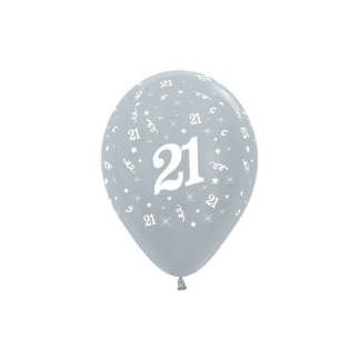 21 Metallic Silver Latex Balloons (6)