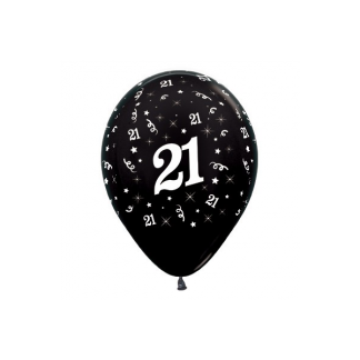 21 Metallic Black Latex Balloons (6)