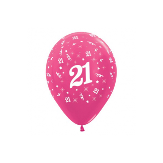 21 Metallic Fuchsia Latex Balloons (6)