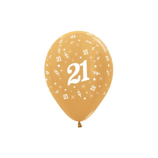 21 Metallic Gold Latex Balloons (6)