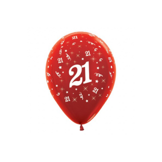21 Metallic Red Latex Balloons (6)