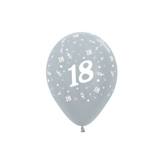 18th Metallic Silver Latex Balloons (6)