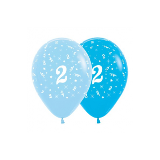 2nd Birthday Blue Asstd Latex Balloons (6)