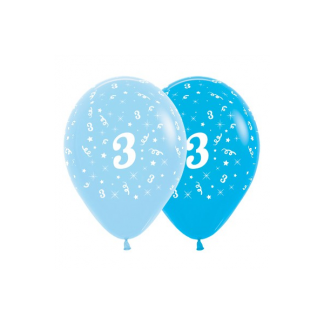 3rd Birthday Blue Asstd Latex Balloons (6)