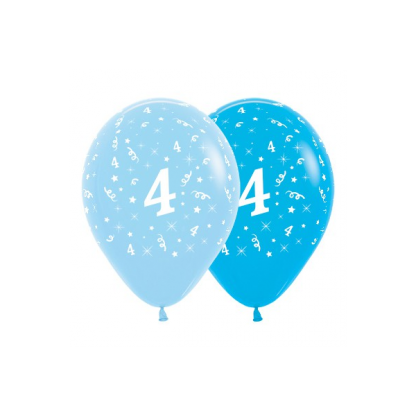 4th Birthday Blue Asstd Latex Balloons (6)