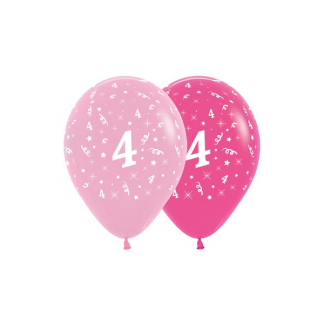 4th Birthday Pink Asstd Latex Balloons (6)