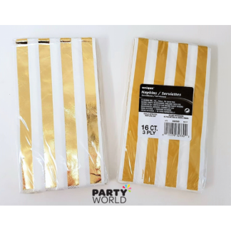 Gold Foil Stripes Dinner Napkins 1/8 fold (16)