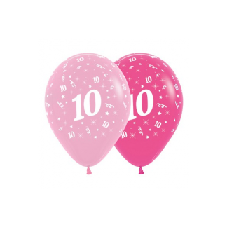10th Birthday Pink Asstd Latex Balloons (6)