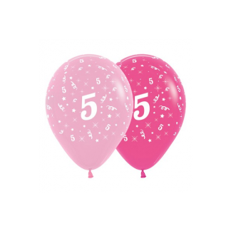 5th Birthday Pink Asstd Latex Balloons (6)