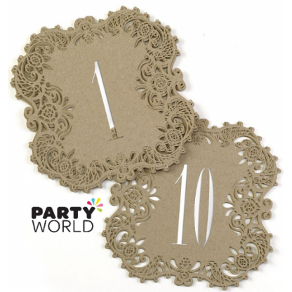 Gold Laser Cut Card Table Numbers (10)