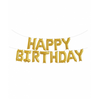 Gold Happy Birthday Balloon Banner Kit (air fill)