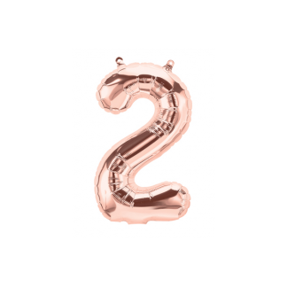 Mini Number 2 Rose Gold Foil Balloon 14in - Air fill only